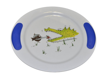 Childrens Decorated Flat Plate 25cm - Crocodile