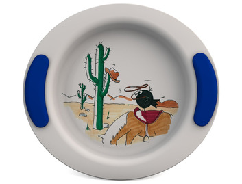 Childrens Decorated Deep Plate 25cm - Wild West