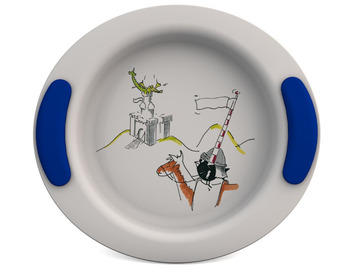 Childrens Decorated Deep Plate 25cm - Dragon