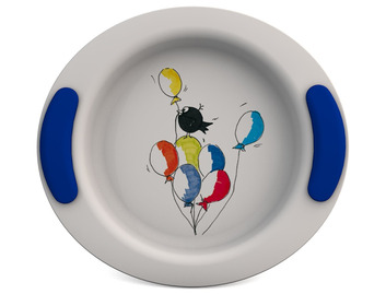 Childrens Decorated Deep Plate 25cm - Balloon