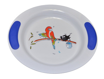 Childrens Decorated Deep Plate 25cm - Parrot