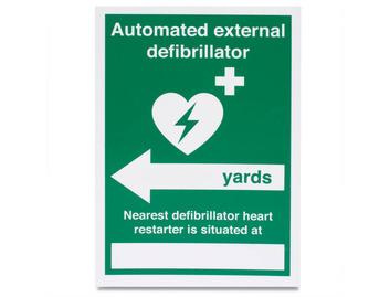 AED Nearest Defib (Yards, left arrow) - Rigid - 148 x 210mm