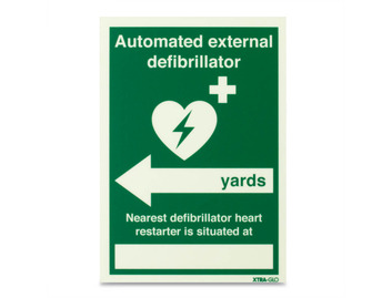 AED Xtra-Glo Nearest Defib (Yards, left arrow) - Rigid - 148 x 210mm
