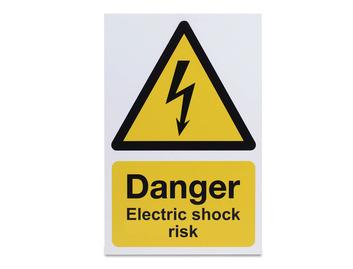 Danger Electric Shock Risk - Rigid - 297 x 210mm
