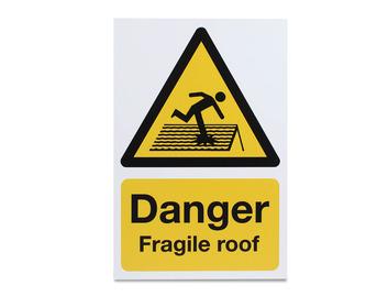 Danger Fragile Roof - Rigid - 297 x 210mm
