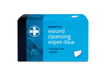 Box of 100 Reliwipe Wound Cleansing Wipes - Blue