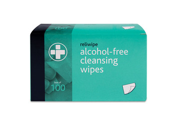 Box of 100 Reliwipe Cleansing Wipes with Cetrimide