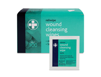 Box of 100 Reliwipe Wound Cleansing Wipes