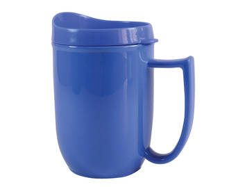 110D Unbreakable mug with feeder lid and large handle Blue