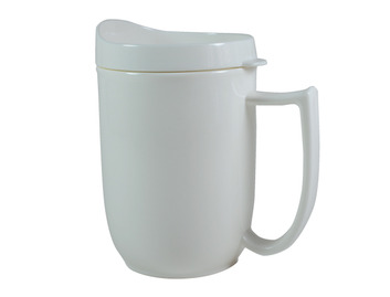 112D Unbreakable mug with feeder lid and large handle Ivory