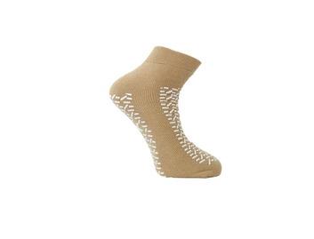Medline Double Tread Fall Prevention Slipper Socks Beige XL 39-43