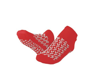 Medline Double Tread Fall Prevention Slipper Socks Red Small 31-33 (Pack of 48)