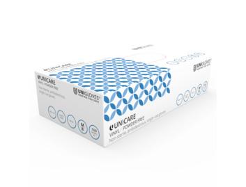 Unigloves Blue Vinyl Gloves: Medium