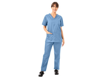 Unisex Lightweight Scrub Top and Trousers Set Ceil Blue