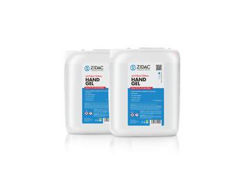 Zidac 70% Antibac Hand Gel 5Ltr Stackable Jerry Can x2