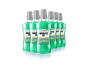 Zidac Absolute Ice Mouthwash Freshmint 500ml x6 Bottles