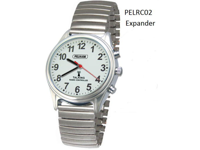Talking Radio controlled Watch Silver Expander wrist strap - Small