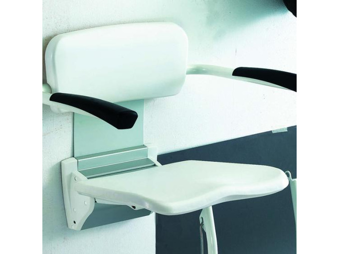 C Wall mountable shower stool with arm and backrest with legs