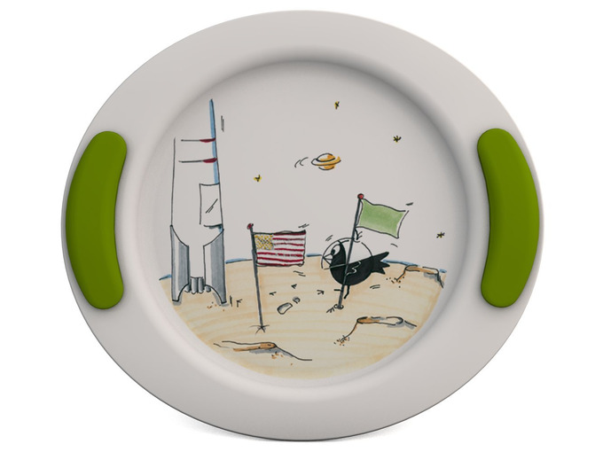 Childrens Decorated Flat Plate 25cm - Cosmonautics