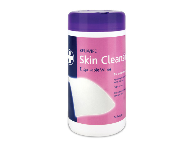 6 x Drum of 125 Reliwipe Skin Cleansing Wipes