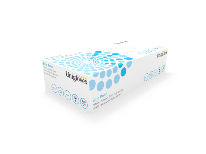 Unigloves Blue Pearl Nitrile Gloves: Medium