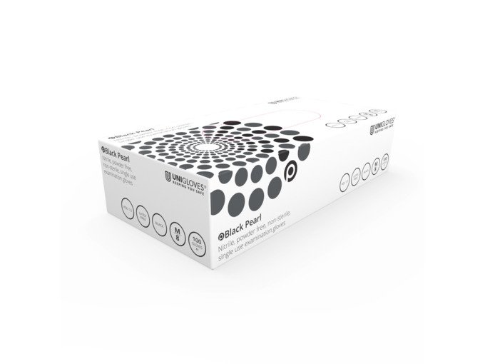 Unigloves: Black Pearl Nitrile Gloves Large (Box of 100)