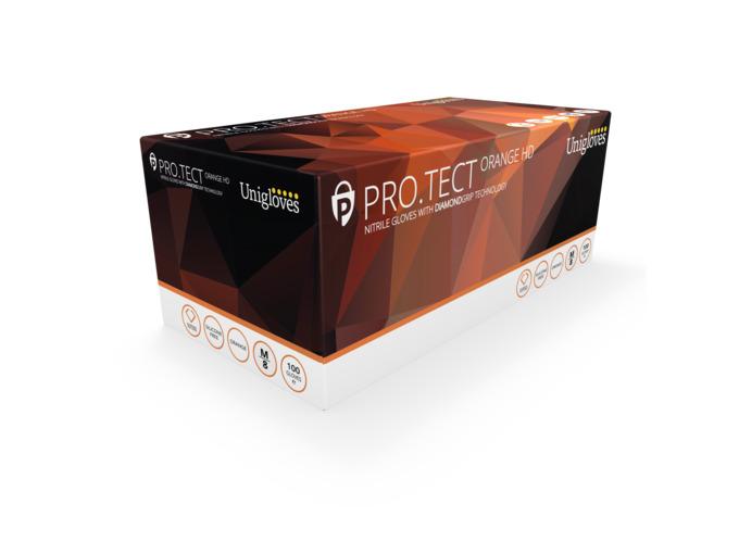 Unigloves: PRO.TECT Orange Heavy Duty Nitrile Gloves: Extra Large