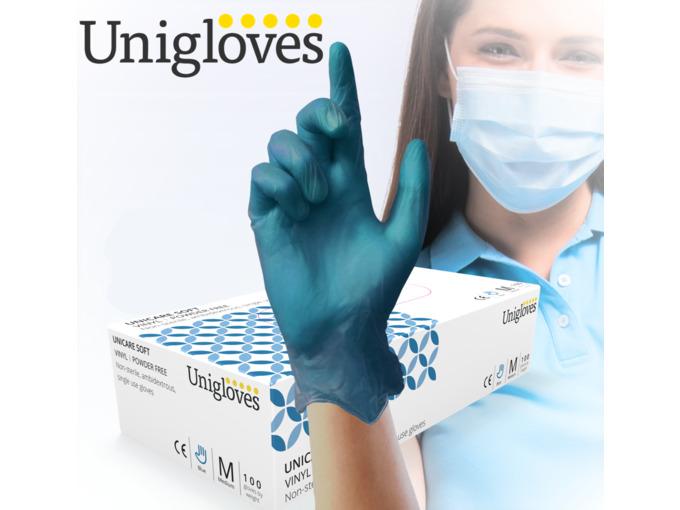 Soft A05 Blue Vinyl 100 Gloves