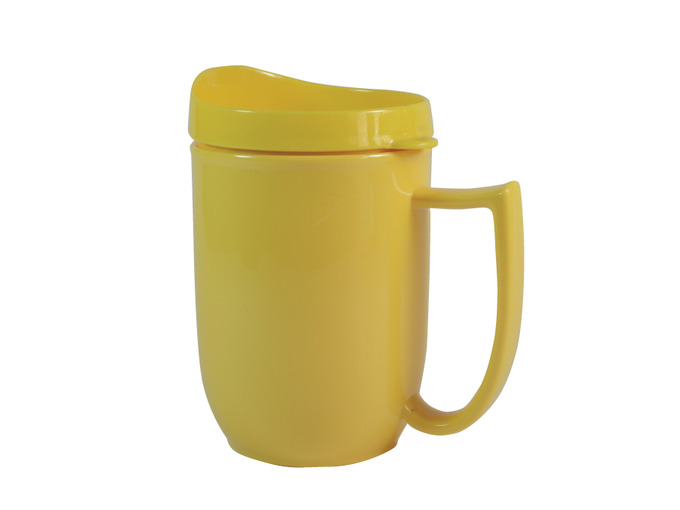 111D Unbreakable mug with feeder lid and large handle Yellow